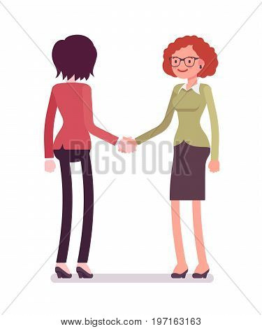 Businesswomen in handshake. Association between partners for commercial purpose, long-term friendships. Business relations concept. Vector flat style cartoon illustration, isolated, white background