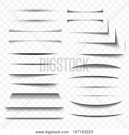 Realistic paper shadow effect set transparent with soft edges isolated on checkered background. Element for product design web banner advertising promotional message.