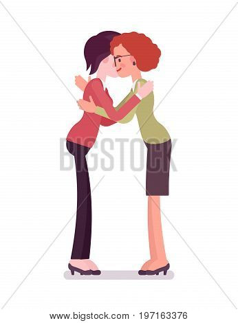 Businesswomen hug gesture. Clasping tightly in arms with affection, embrace, showing love, friendship. Business relations concept. Vector flat style cartoon illustration, isolated, white background