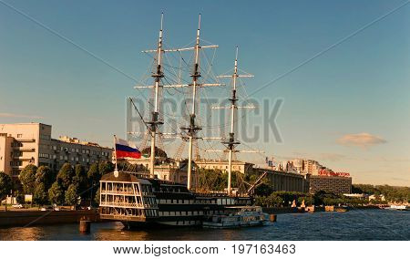 St. Petersburg Russia - June 28 2017: Panoramic view of the Restaurant - Frigate from the Neva River in St. Petersburg