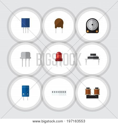 Flat Icon Device Set Of Destination, Triode, Receptacle And Other Vector Objects