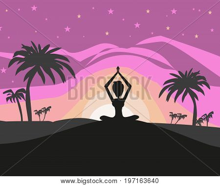 Silhouette woman practicing yoga on the beach at sunset , vector illustration