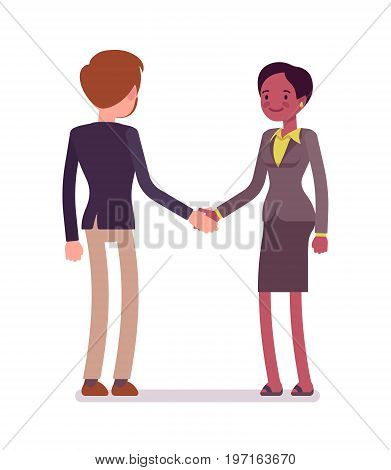 Businessman and businesswoman handshake. Developing a friendship, building a meaningful relationship. Business manner concept. Vector flat style cartoon illustration, isolated, white background