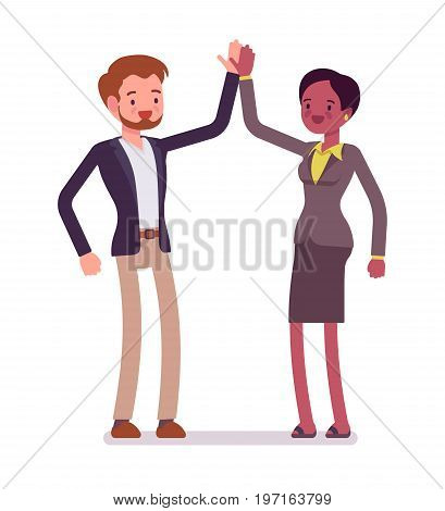 Businessman and businesswoman highfive gesture. Office rules, standard friendly cross-cultural greeting. Business manner concept. Vector flat style cartoon illustration, isolated, white background
