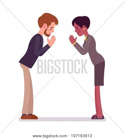 Businessman and businesswoman bow gesture. Proper cross-cultural greeting etiquette. Business manner concept. Vector flat style cartoon illustration, isolated, white background