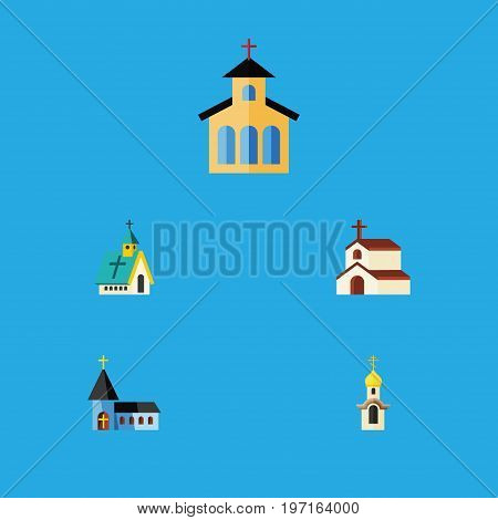 Flat Icon Church Set Of Religion, Architecture, Catholic And Other Vector Objects