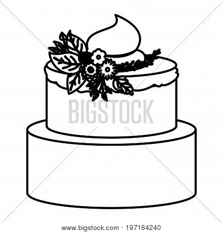 sketch contour of hand drawing two-story cake with buttercream decorative and ornament plants vector illustration