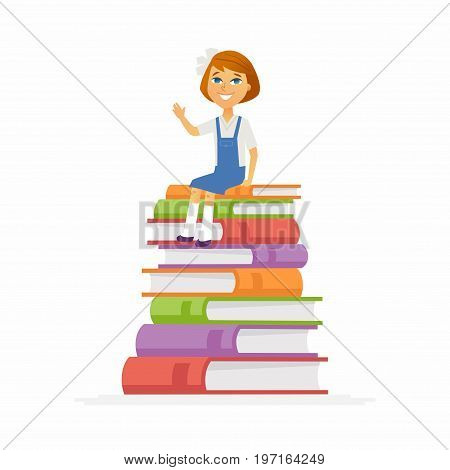 School Girl - modern vector people character illustration of happy child, kid sitting on pile of books, waving hand, smiling. Junior student ready to learn, study, for new academic year and knowledge