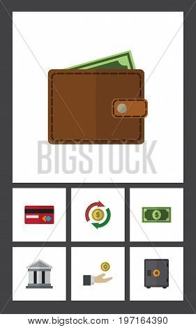 Flat Icon Finance Set Of Payment, Hand With Coin, Greenback Vector Objects