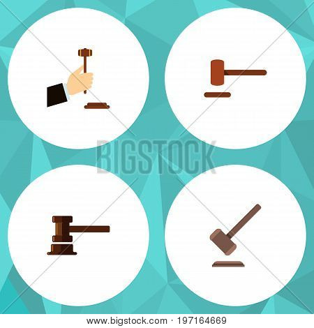 Flat Icon Hammer Set Of Tribunal, Government Building, Defense And Other Vector Objects