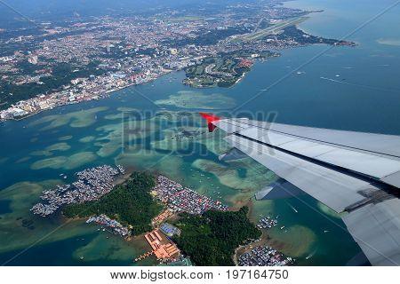 Aerial view of Kota Kinabalu and Gaya Island Sabah Malaysia