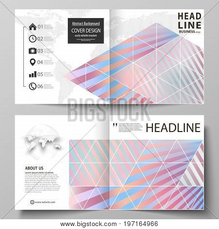 Business templates for square design bi fold brochure, magazine, flyer, booklet or annual report. Leaflet cover, abstract flat layout, easy editable vector. Sweet pink and blue decoration, pretty romantic design, cute candy background.