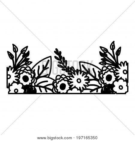 sketch contour of decorative inferior edge with beautiful flowers ornaments vector illustration