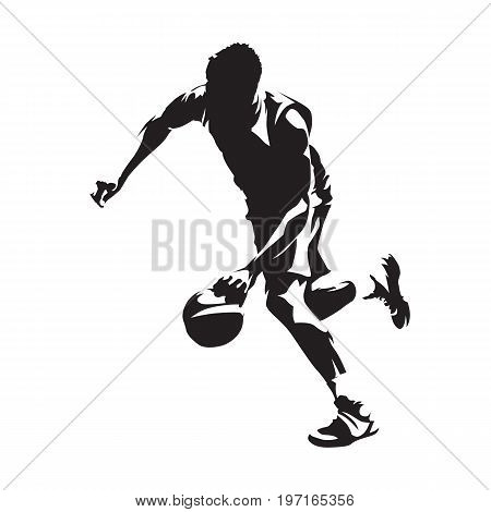 Running basketball player with ball abstract vector silhouette