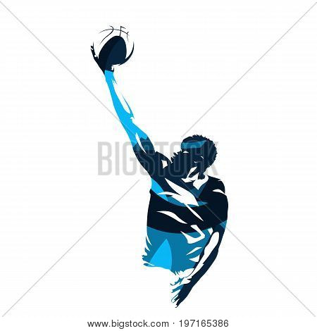 Basketball player making lay up shot abstract blue vector silhouette
