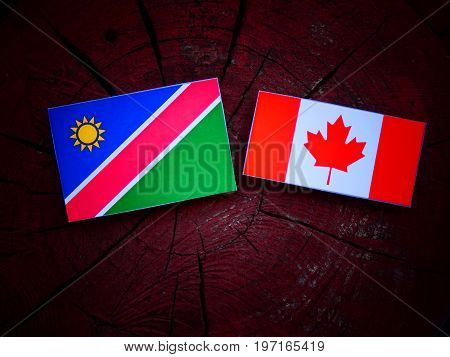 Namibian Flag With Canadian Flag On A Tree Stump Isolated