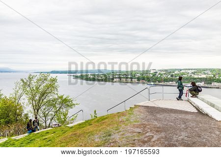 Quebec City, Canada - May 30, 2017: People Walking And Sitting High Up At Top Of Pierre Dugua De Mon