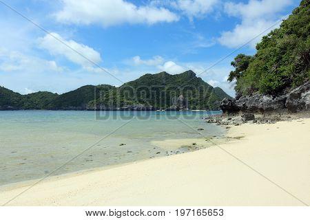 White sand beach at Ang Thong Island Thailand.