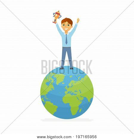 School contest winner - modern vector people character illustration of happy boy standing on Earth globe, holding a cup. Student represent online, international study, geography competition, contest