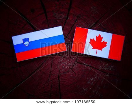 Slovenian Flag With Canadian Flag On A Tree Stump Isolated