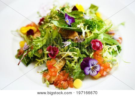 Green salad on a white plate with flowers, meat, corn and tomatoes
