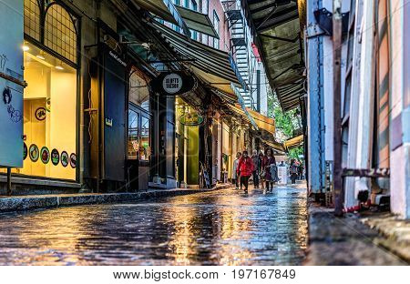 Quebec City, Canada - May 31, 2017: Old Town Street Called Rue Tresor With Shops And People Walking