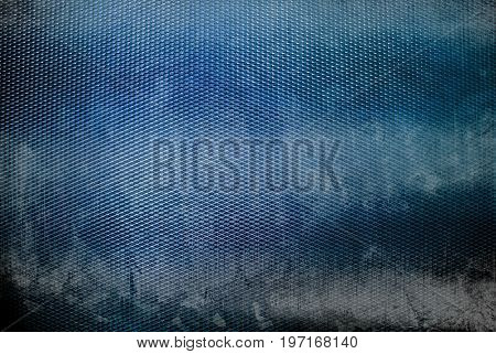 stained blue iron mesh background