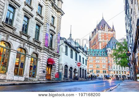 Quebec City, Canada - May 31, 2017: Old Town Fort Street With Steep Incline And Cityscape Skyline Vi
