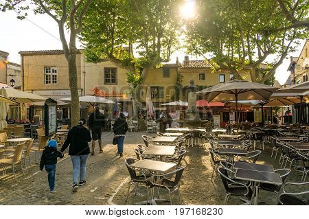 Center of the fortified city of Carcassonne full of tourists in April 2017