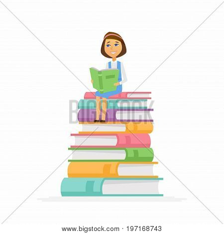 School Girl - modern vector people character illustration of happy teenager child, kid sitting on pile of books reading. A senior student get ready to learn, study, for a new academic year, knowledge