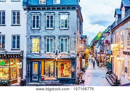 Quebec City, Canada - May 31, 2017: Lower Old Town Streets Called Rue Du Petit Champlain And Sous Fo