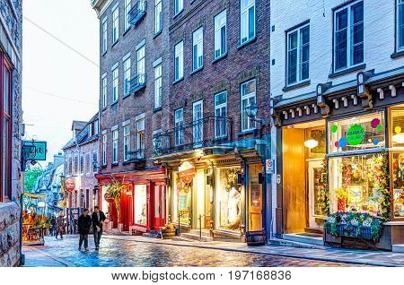 Quebec City, Canada - May 31, 2017: Colorful Cobblestone Street During Blue Hour By Lower Old Town S