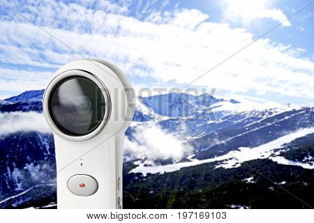 Taking photo in the mountain with 360 degree camera, 3D illustration