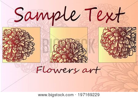 Floral poster. Beautiful sketch of autumn colors of chrysanthemum. Poster ready to print