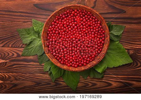 Top view of beautiful composition of fresh, raw currant with green leaves in a small crate on a wooden table. Juicy and delicious red currant in a brown basket. Healthful breakfast for vegetarians.