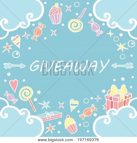 Giveaway, banner with clouds on the blue background / Giveaway banner, freehand style, great for social media