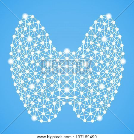 Human Thyroid Isolated On A Blue Background. Vector Illustration.Endocrinology. Creative Medical Concept