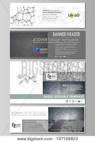 Social media and email headers set, modern banners. Business templates. Easy editable abstract design template, vector layouts in popular sizes. Chemistry pattern, molecular texture, polygonal molecule structure, cell. Medicine, science, microbiology conc