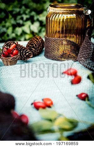 Autumn Decoration On Blue Jute