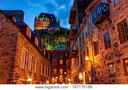 Quebec City, Canada - May 31, 2017: Lower Old Town Cobblestone Street Called Sous Le Fort With Resta