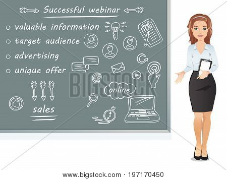Woman coach explains and shows the main components of a successful webinar / online education, e-learning, web seminar. Flat design, vector cartoon illustration.