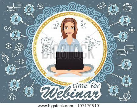 Cute smiling woman siting in a free pose and holds a webinar / public speaker, coach, online education, e-learning. Flat design, vector cartoon illustration.