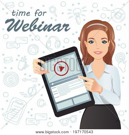 Cute woman holding a tablet in her hands and pointing how to watch a webinar online / broadcast, online education, e-learning, coaching. Flat design, vector cartoon illustration.