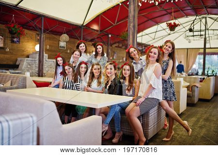 Fantastic Girls Enjoying Bachelorette Party At The Table In The Restaurant.