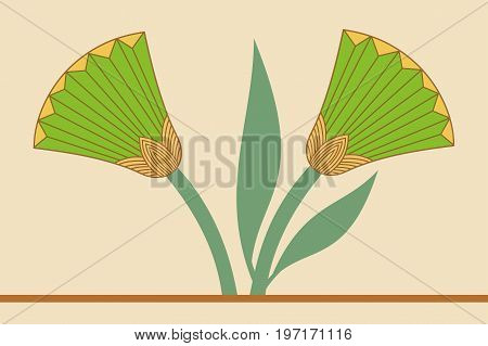 Vector illustration of Egyptian national drawing with lotus flower on beige background.