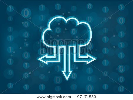 Cloud computing vector background. Concept of data transfer from the cloud. Generic digital background.