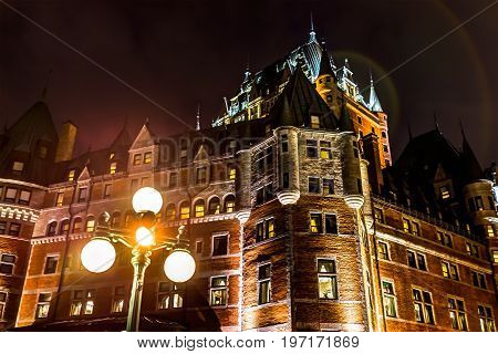 Quebec City, Canada - May 31, 2017: Closeup Of Chateau Frontenac Castle Hotel In Old Town At Night W