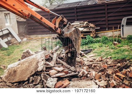 Industrial Hydraulic Backhoe Bulldozer Loading Demolition Debris, Stone And Concrete For Recycling