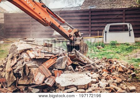 Industrial Heavy Duty Backhoe Bulldozer Loading Demolition Debris, Stone And Concrete For Recycling