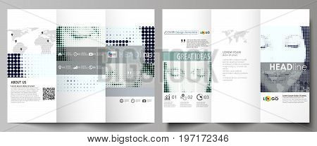 Tri-fold brochure business templates on both sides. Easy editable abstract vector layout in flat design. Halftone dotted background, retro style grungy pattern, vintage texture. Halftone effect with black dots on white.
